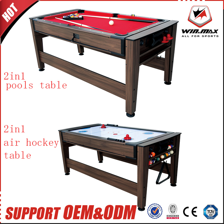 Latest design wooden superior 2 in 1 pool table and air hockey table sale