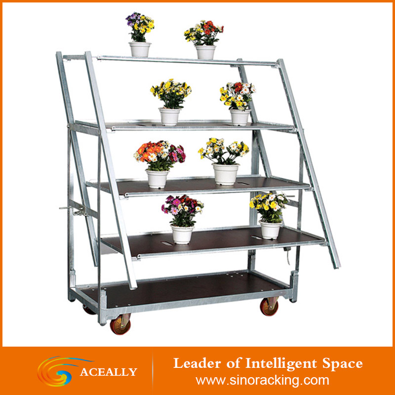 Outdoor metal garden flower cart