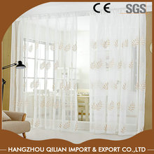 Linen cotton embroidery sheer grommet curtain for window coverings