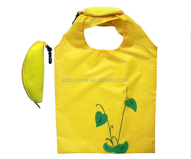 Promotion reusable nylon shopping bag with zipper closure fruit shape fold bag