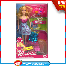 Hot sale 11.5 inch plastic dress up doll with accessories