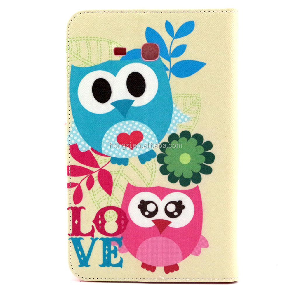 For Tab 3 Lite T110 owl Pattern Flip Smart Stand Leather Case For  Luxury Folding Smart Cover Case