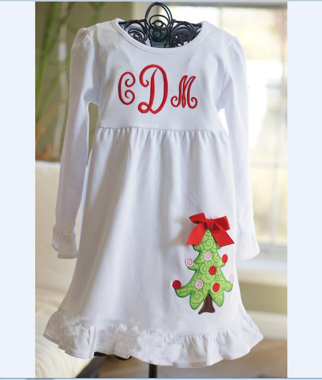 Ruffle Monogram Baby Girl Outfits Christmas Applique Toddler Dress