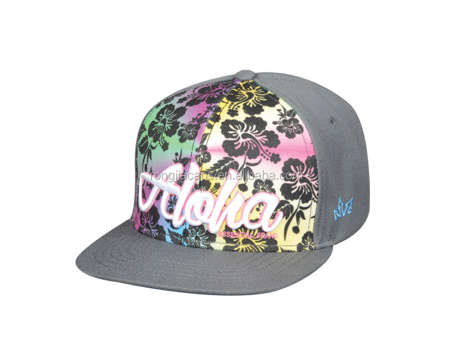 sublimation printing fashion flat cap with 3D embroidery