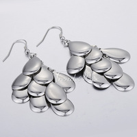 Trendsmax Fashion Elegant Womens Girls Silver Tone Smooth Flakes Eardrop Dangle Earrings Stainless Steel Earrings