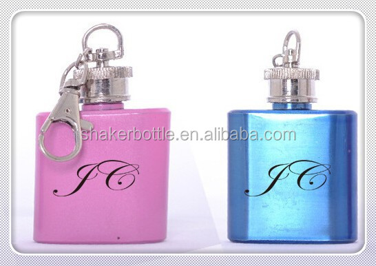 Factory direct supply Mini 1 oz hip flask with key ring hip flask