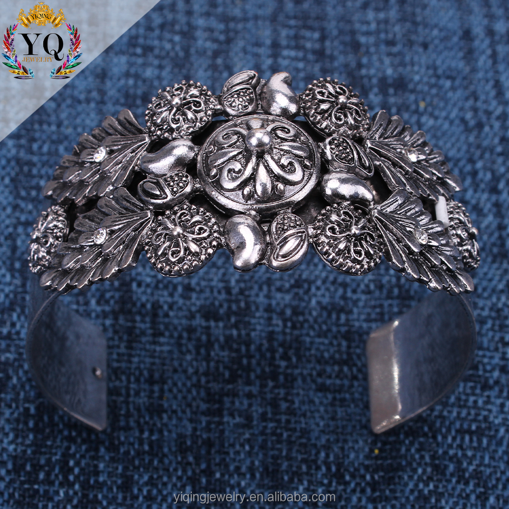 BYQ-00122 indian sliver metal alloy flower open cuff nepal ethnic style bangle adjustable