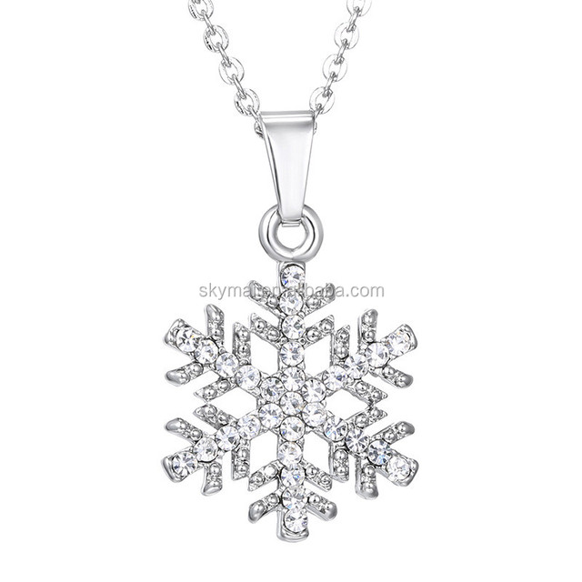 2017 New Vintage Luxury Snowflake Pendant Necklace Crystal Zircon Jewelry Necklace For Women Party