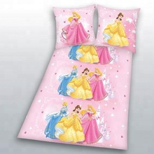 Hot selling cartoon princess design 3D printed polyester bed linen duvet cover set for children