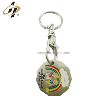 Factory custom enamel deboss logo metal shopping token keychain