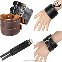 Fashion Belt Leather Wrist Friendship Big Wide Bracelet for Men Buckle Vintage Punk Jewelry