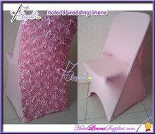 pink spandex rosette folding chair covers, lycra rosette folding chair covers, stretch folding chair covers for weddings