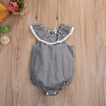 Newest Embroidery Designs unique baby names pictures Black Plaid Baby Lace Romper
