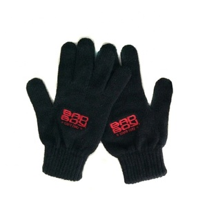 Promotion black embroidered mitten, knitted winter magic gloves with custom logo