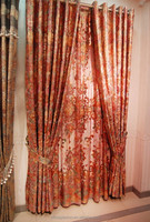 Export gold stamped flower print curtain design