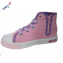 Design of pink cartoon characters high top canvas girl shoes with side zipper