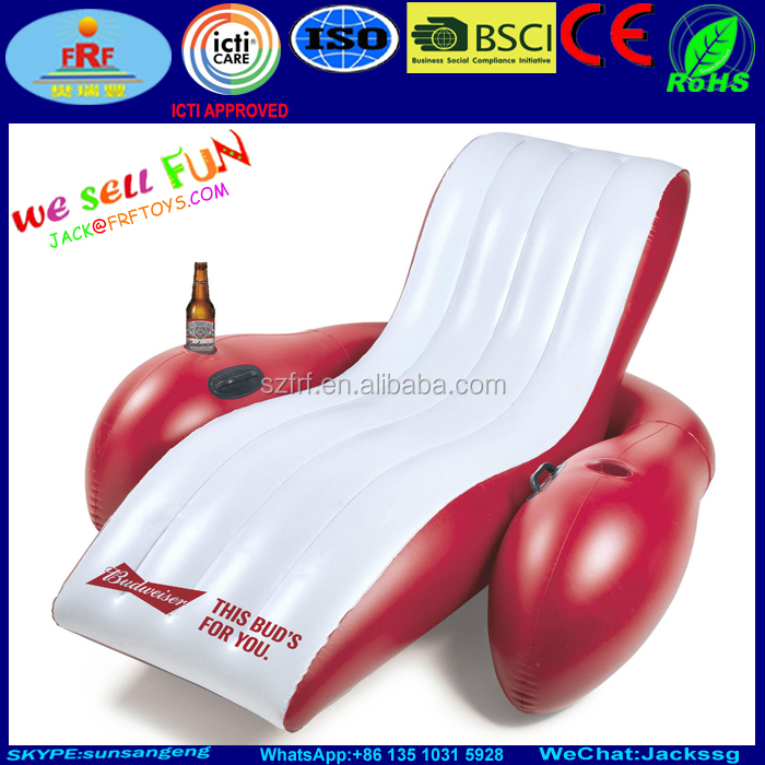 Budweiser Inflatable Pool Float Lounge chair with Cup Holder and handles