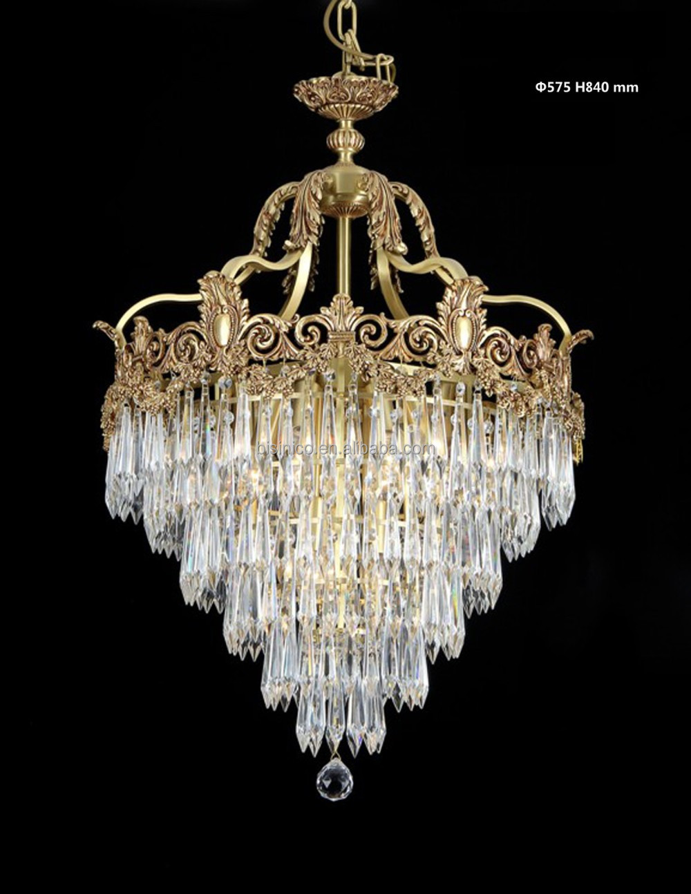 Rococo Style Crystal Bronze Chandelier For Living Room/ Elegant Crystal Chandelier Decorated Pendant Light
