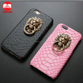 2016 New Retro Snap On Snake Pu Leather Skin With Stand 3D Lion Head Door Knocker Metal Ring Hard Phone Case for Iphone Se 6 6s