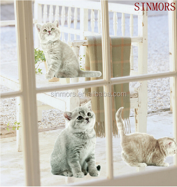 Custom decorative cats no glue window decal glass film/static cling glass sticker home decor