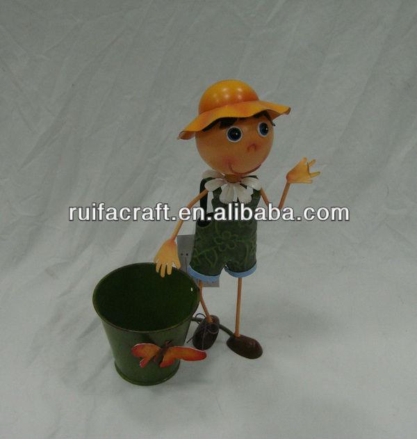 garden decor Metal figurine boy with pot