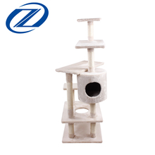Funny Beige Color Deluxe Cat Tree Kinds Of Indoor Cat Shelf With Five Platforms