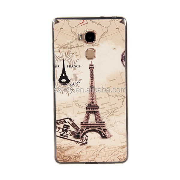 China 3d printer factory shockproof fancy leather patch on soft TPU smart mobile phone case for huawei ascend mate 7