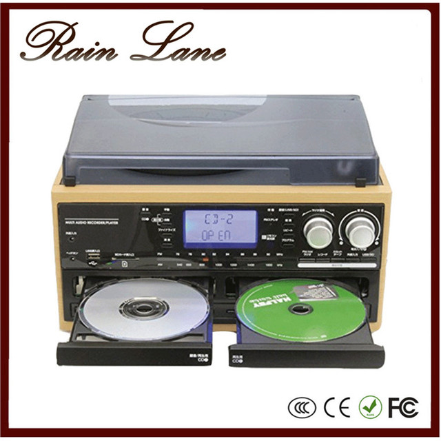 Rain Lane Vintage vinyl record players with speakers double cd record Cassette USB SD radio LP vinyl records