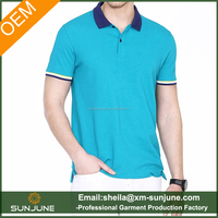 High quality color matching pure cotton pique polo shirt