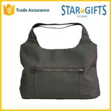 Custom Gray Soft Waterproof Daily Lady Foldable Canvas Shoulder Bag