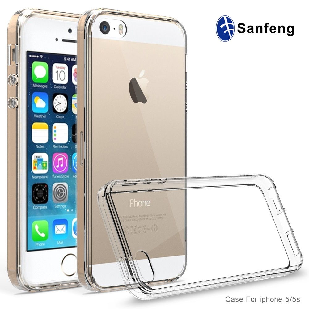 For iPhone 5s case, For iPhone Cover Case, Sanfeng Fashion Hybrid Phaone Cover Ultra Thin Detachable TPU Bumper + Clear Acrylic