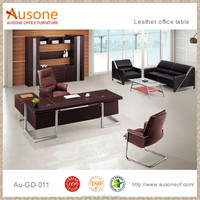 L shape executive leather office desk table for manager office table