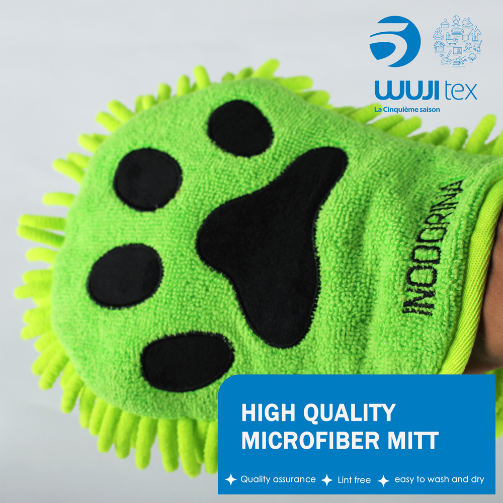 Wholesale microfiber chenille car cleaning gloves car wash mitt
