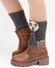 In Stock Winter Women's Leg Warmer Knit Lace Flower Bowknot Tassel Boot Topper
