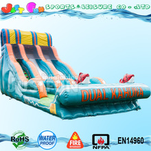 20'H dual lane kahuna inflatable water slide for kids and adult