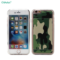 New Design Camouflage Pattern Clear TPU Bumper Leather Stand Case For iPhone 6/s
