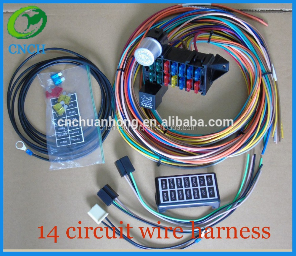 List Manufacturers Of 12 Circuit Wiring Harness Buy Street Rod Rat Universal 14 Fuse System