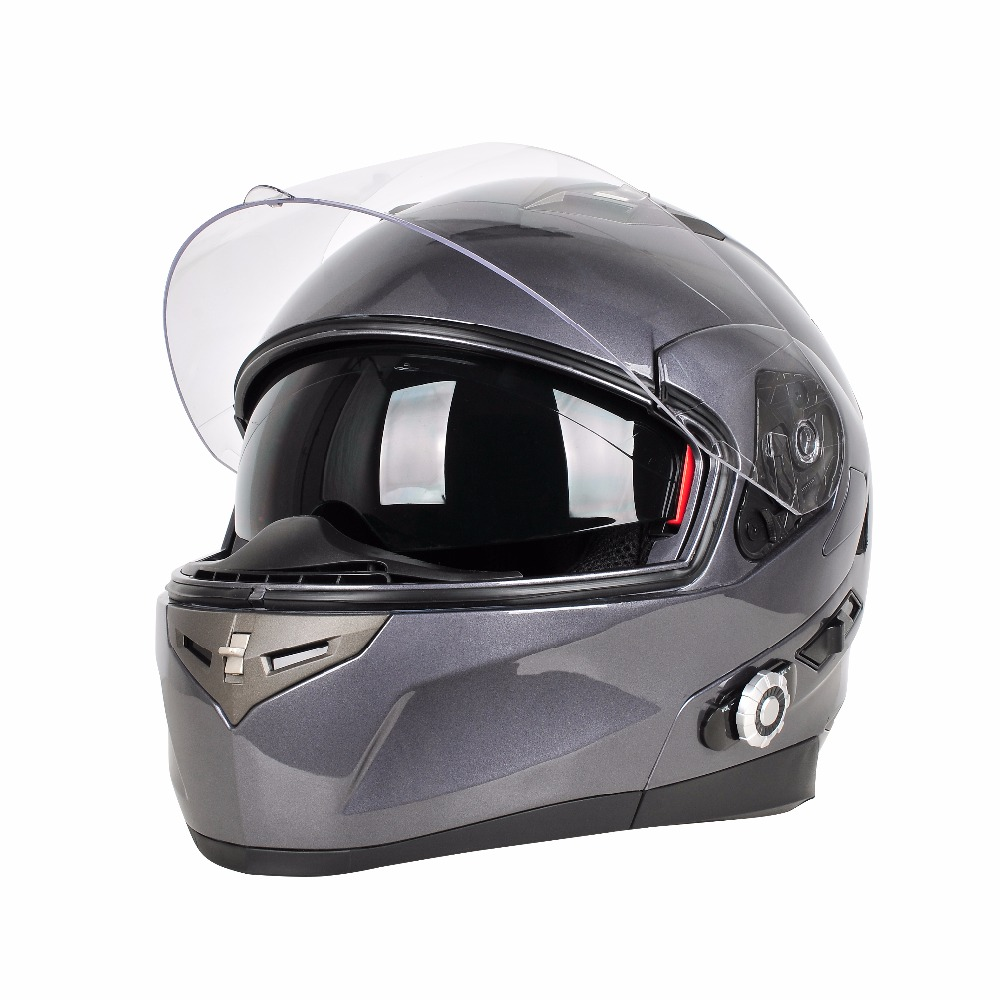 Flat Black Streamline Grey Bluetooth Motorcycle Bike Full Face Helmet with 3 Sizes