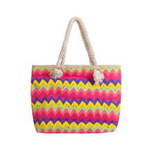 1CT0082 Wholesale Color Chevron Casual Beach Rope Handle Style Cotton Canvas Tote Bags
