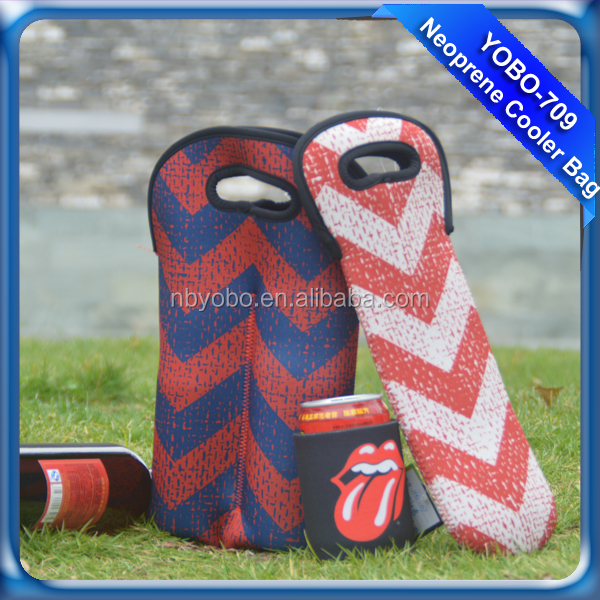 Top newest customized neoprene portable 2 bottle wine beer ice cooler tote bag