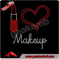 Beautiful I love makeup hot fix rhinestone transfer for t-shirt