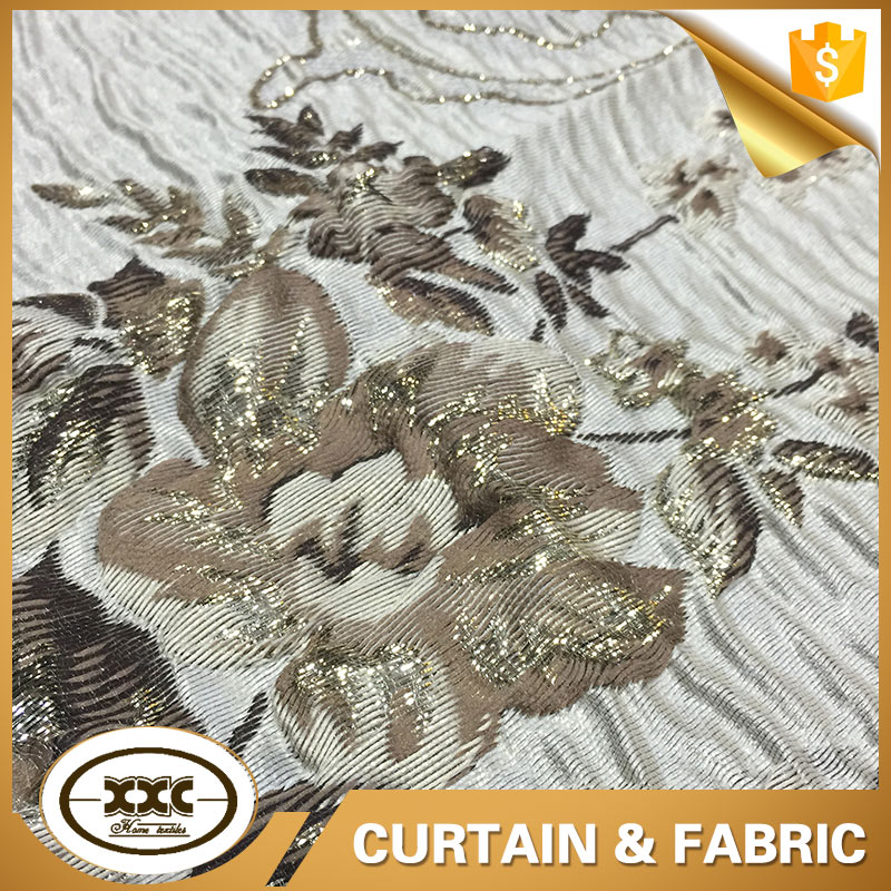 European beautiful crinkle jacquard fabric for curtain