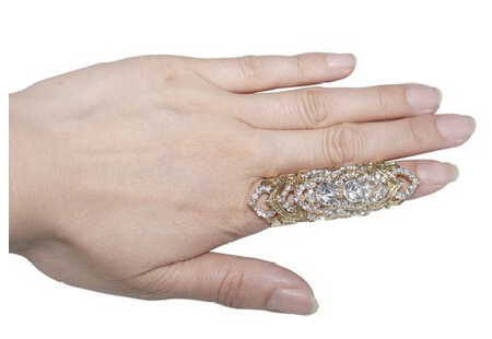 Celeb's Full Finger Rhinestone Crystal Ring Armor Knuckle Heart Shield Stacked Finger Ring