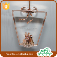 christmas gift ornament for christmas decoration, hanging metal deer tealight candle holder