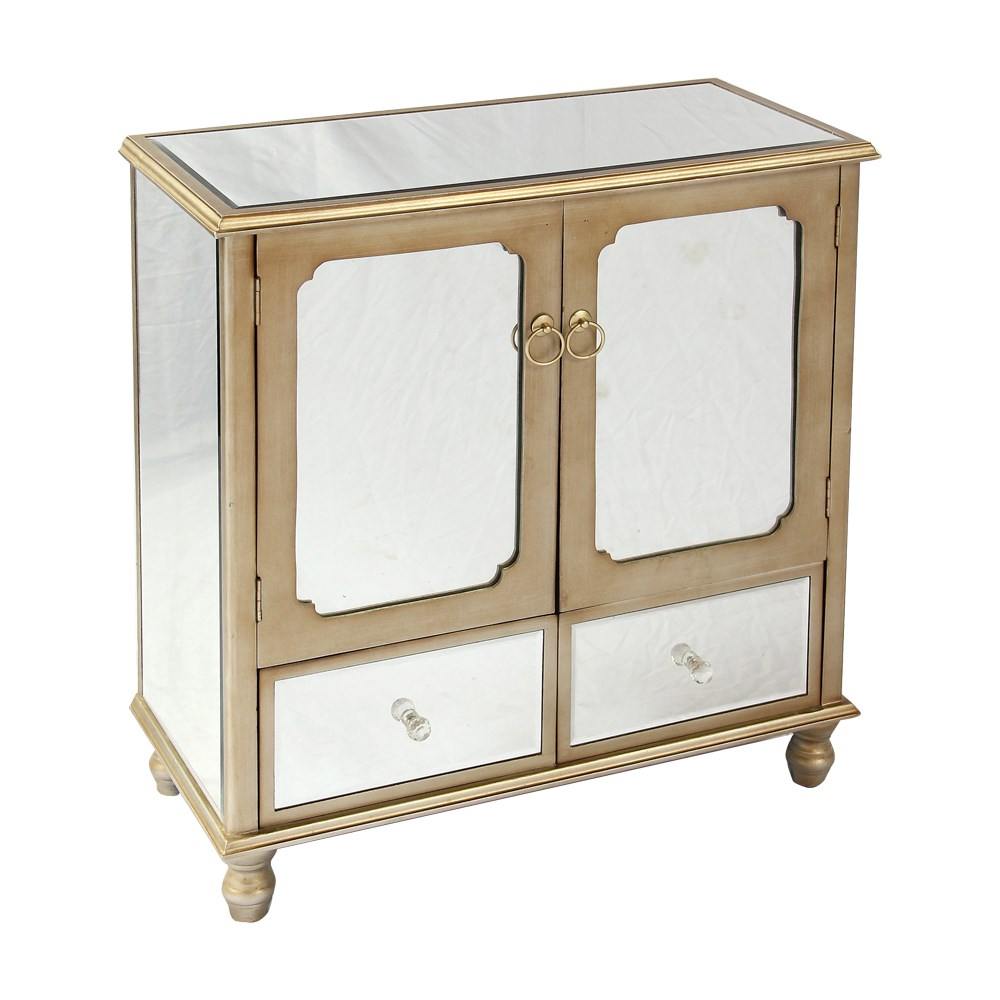 Luxury Mirrored Storage Cabinet mirrored bedside table