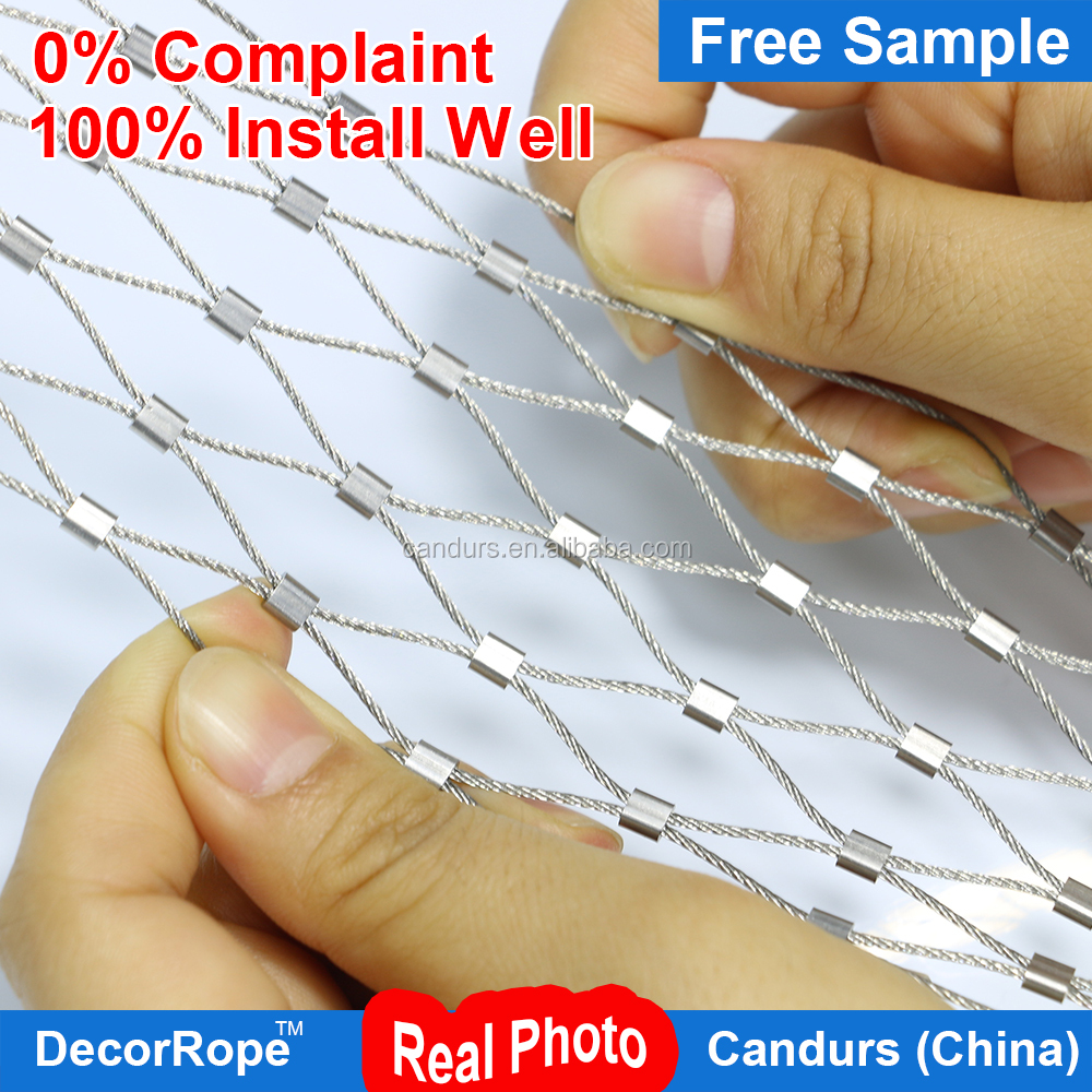 DecorRope beautiful balustrade decorative rope mesh fence For Suspension pedestrian bridge Safety net