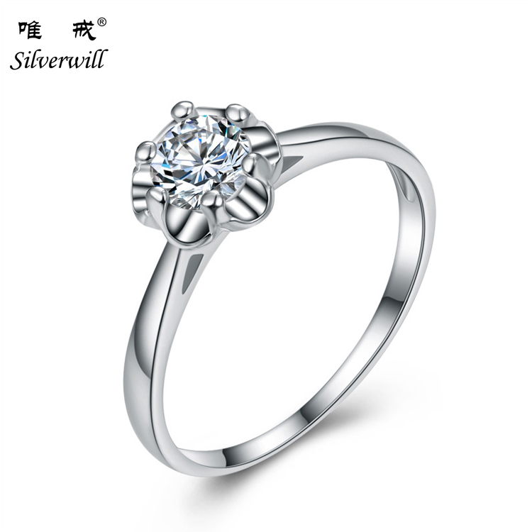 Fashion jewellery online sterling silver ring flower design Rhodium plate white CZ women ring