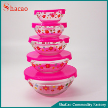 flower Decal printing set of 5 pcs glass salad bowl with pink plastic lids