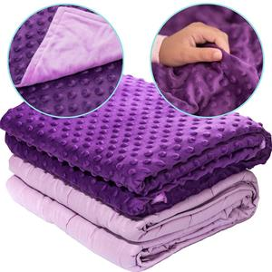 5lb for Kids 40-60lb Individual with Dot Minky Cover Navy Violet Color Weighted Blanket
