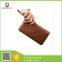 2015 Fashion Knitted Men's Long Wallet Zipper Young Man Leather Wallet